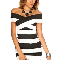 White Black Scallop Textured Off Shoulders Sexy Bandage 2 Piece Dress