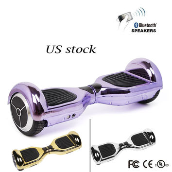 electric skateboard chrome Self Balancing scooter chrome hoverboard  6.5 Inch two wheel balance scooter with bluetooth speaker