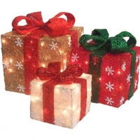 3 Gift Box Christmas Yard Art - 77 Total Clear Mini Lights