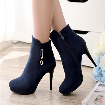 New Ankle Boots Big Size 35-43 Women Autumn Spring Shoes Half Red Bottom Metal Platform Boots Sexy Rhinestone Spiked High Heels