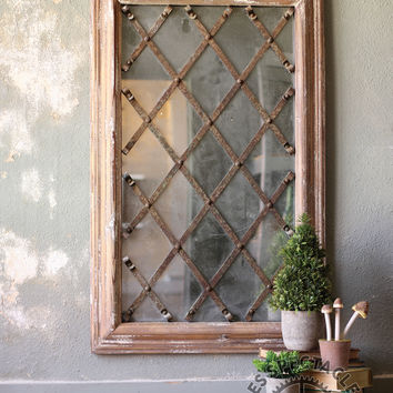 Wooden Mirror With Metal Xs
