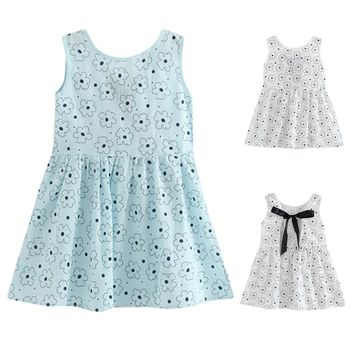Summer Dresses For Girls A-Line Print Floral Girls Dresses Backless Kids Clothes For Girls Fashion Baby Princess Dress