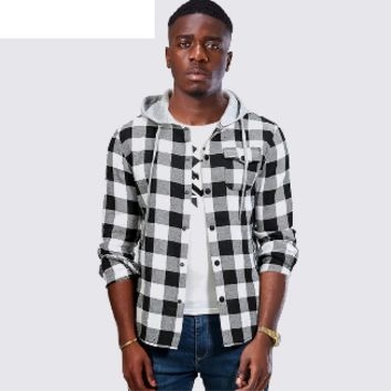 Plaid hip hop patchwork hooded sweatshirt