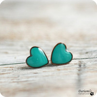 Post earrings - Ultramarine green Hearts- made to order