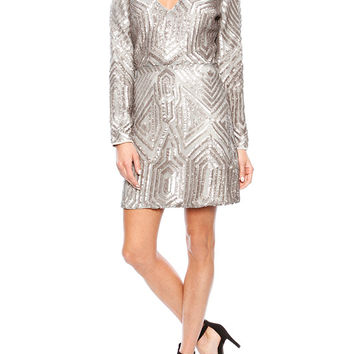 Saylor Naomi Sequin Dress in Platinum