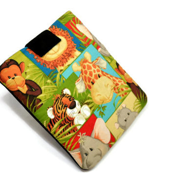 "Hand Crafted Tablet Case from Animal Print Fabric/ Tablet Case For  Kindle Fire HD "" ,i Pad Mini,Nook HD 7, Samsung Galaxy 7"