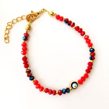 Evil eye bracelet, red beaded bracelet, miyuki beads bracelet, evil eye red beads