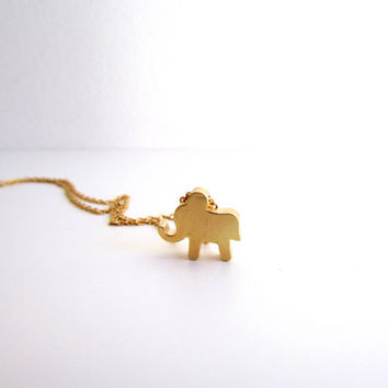 Tiny elephant necklace, Dainty Gold Necklace, Baby elephant necklace, Animal Charm Jewelry, Gold Elephant Jewelry, Layered necklace