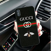 GUCCI 2018 Hot Small Bee Letter Print Ladies Men Couple iPhone Phone Cover Case For iphone X iphone 6 6s 6plus 6s-plus 7 7plus 8 8plus Black