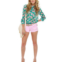 Pretty Floral Top - Button-Up Top - Sheer Top - $39.00