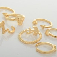 7pcs Set Rings Stack Plain Above Knuckle Cool Anchor Skull Shape Band Mid Finger Rings