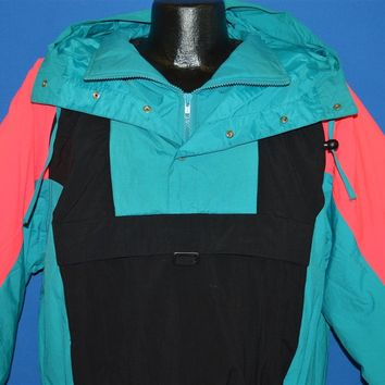 90s Alpine Black Pink And Blue Pull Over Ski Jacket Large