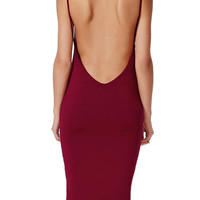 Wine Red Backless Sleeveless Midi Bodycon Dress