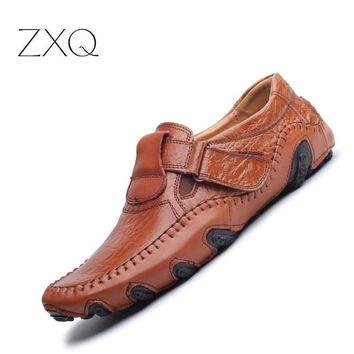 New Design 2017 Spring Summer Men Flat Shoes Soft Split Leather Male Moccasin Driving