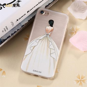 CASEIER Embossed Relief Case For iPhone 7 6 6s Plus 5 5s SE Cartoon Dress Girly Case For Samsung S6 S7 Edge Silicone Coque Capa