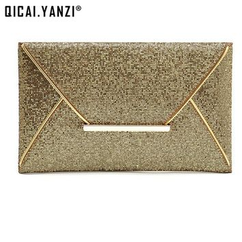 2017 New Hot Of Hand Package Women Fashion Sequins Envelope Bag Personality Clucth Purse Leather Handbag High Quality P344