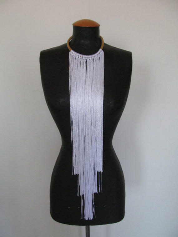 Chocker leather necklace with long yarn fringe - statement - beige and white, free shipping