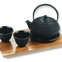 5 Piece Cast Iron Tetsubin Tea Set in Black