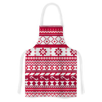 """Noonday Design """"Red Fairisle Christmas Pattern"""" Red White Artistic Apron"""