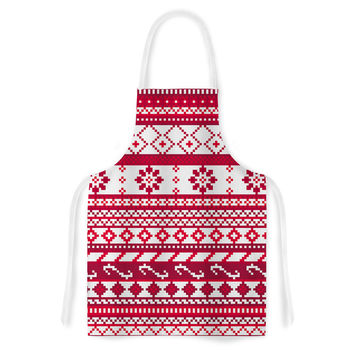 "Noonday Design ""Red Fairisle Christmas Pattern"" Red White Artistic Apron"