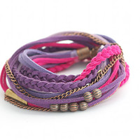 Wrap Bracelet, Purple Bracelet, Leather wrap, Purple Boho bracelet, suede, double wrap, boho chic