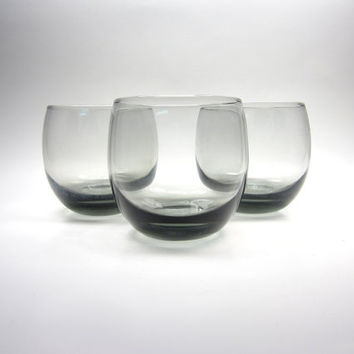 Three 1950s Medium Smoke Grey Spherical Circle Sphere Drinking Glasses Tumblers - cocktails juice water - mid-modern retro mad men
