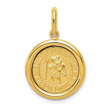 14K Yellow Gold Polished and Satin St Christopher Medal Pendant