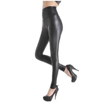 Women's Faux Pu Leather Leggings Fashion Black Solid High-Waist Skinny Pants Trousers Casual Wear lSexy Leggings Women