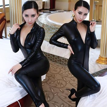 2016 Hot Lady Sexy Leather Latex Zentai Catsuit Smooth Wetlook Jumpsuit Front Zipper Elastic Valentine's Day Party Clubwear