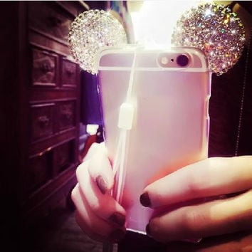 Blinged Mouse Ears TPU Phone Case & Strap