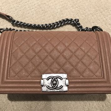 100% AUTH CHANEL '16 OLD MEDIUM BOY BAG IN CAMEL CAVIAR W/ RUTHENIUM HW SOLD OUT