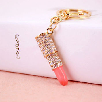 Lipstick Rhinestone Crystal Keyring Charm Pink Pendant Car Gold KeyChain For Woman Gift SM6