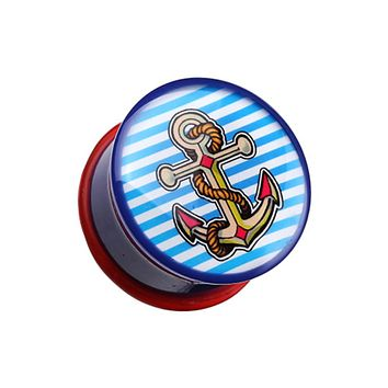 Marine Blue Anchor Dock Single Flared Ear Gauge Plug