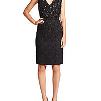 Escada - Sequined Wool & Silk Fil Coupe Dress - Saks Fifth Avenue Mobile