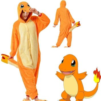 Go Charmander Unisex Adult Onesuits Night Animals Cosplay Wool Fleece Pajamas Charmander anime cartoon JapaneseKawaii Pokemon go  AT_89_9