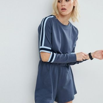 ASOS Contrast Stripe Romper with Cut Out Elbows at asos.com