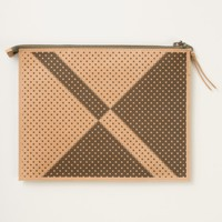 Leather Travel Pouch Black and White Polkadots