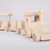 Wooden train - organic wooden toy unpainted