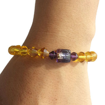 Yellow Purple Jewelry Crystal Beaded Boho Bracelet Gemstone Stacking Bracelet Set Stretch Bracelets Handmade Women Gift Friend @MystifyGifts