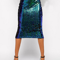 Green Sequined High Waisted Pencil Midi Skirt