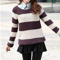 Striped long-sleeved pullover sweater BBCEE from funkycatsterz