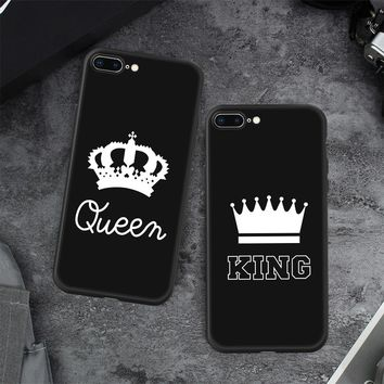 GerTong Matte Soft Silicone Case For iphone XS Max KING Queen Crown Cover Phone Case For iphone 7 6 6S 8Plus X R Protective Capa