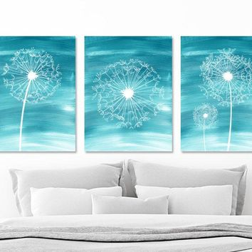 Watercolor DANDELION Wall Art, Water Ombre Teal Bedroom Wall Decor, CANVAS or Prints, Dandelion Teal Bathroom Wall Decor, Set of 3 Pictures
