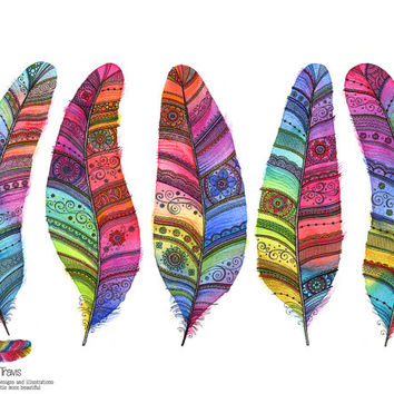 Five Rainbow Feathers Watercolour Print