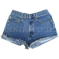 Levis High Waisted Cuffed Denim Shorts Rolled Up Low Rise Denim Shorts Plain Jean Shorts