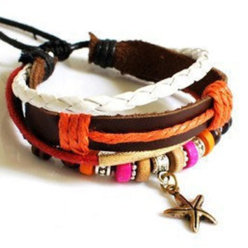 Jewelry Bangle women Leather Bracelet Girl Ropes Bracelet Men Leather Bracelet with Multicolor beads 892A