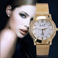 Women Gold Band Crystal Filled Wrist Watch Stainless Steel Fashion Jewelry 2 Colors