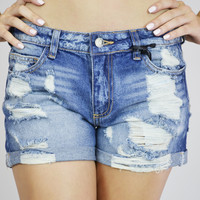 By The Ocean Ripped Denim Shorts