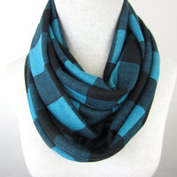 Plaid Infinity Scarf - Teal and Black Scarf - Chunky Sweater Scarf
