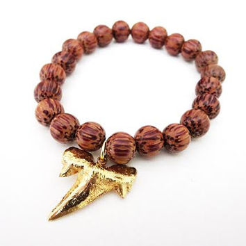 Shark Tooth Bracelet- Boho Wood Bead Bracelet with 24k Gold Shark Tooth Pendant